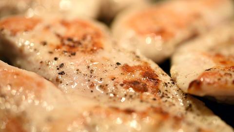 Home Preparing Of Chicken In Frying Pan Footage