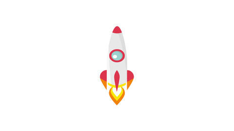 Rocket launch cartoon animation in flat style, HD mp4 with green screen 애니메이션