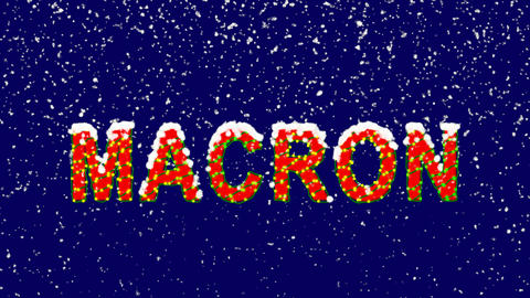New Year text Person of the World Politics MACRON. Snow falls. Christmas mood, Animation