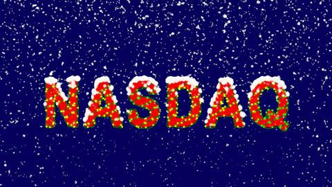 New Year text World stock index NASDAQ. Snow falls. Christmas mood, looped Animation