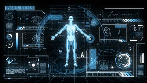 Futuristic HUD Medicine Screen Data, 4K Animation