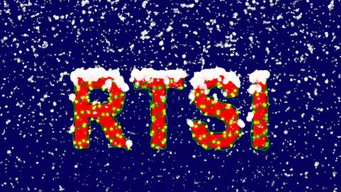 New Year text World stock index RTSI. Snow falls. Christmas mood, looped video. Animation