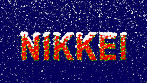 New Year text World stock index NIKKEI. Snow falls. Christmas mood, looped Animation