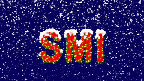 New Year text World stock index SMI. Snow falls. Christmas mood, looped video. Animation