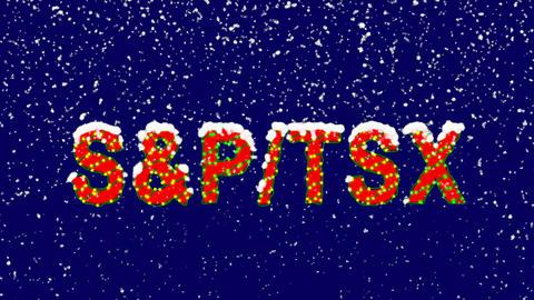 New Year text World stock index SWorld stock indexP/TSX. Snow falls. Christmas Animation