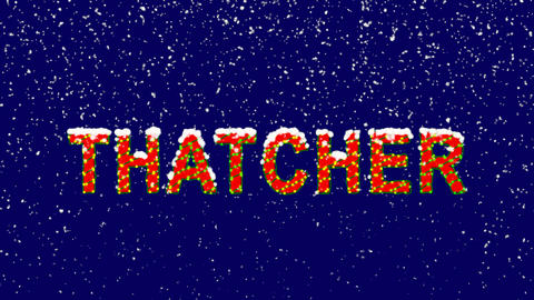 New Year text Person of the World Politics THATCHER. Snow falls. Christmas mood, Animation