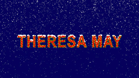 New Year text Person of the World Politics THERESA MAY. Snow falls. Christmas Animation