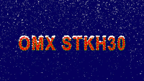 New Year text World stock index OMX STKH30. Snow falls. Christmas mood, looped Animation