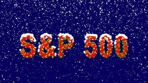 New Year text World stock index SWorld stock indexP 500. Snow falls. Christmas Animation