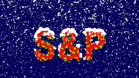 New Year text World stock index SWorld stock indexP. Snow falls. Christmas mood, Animation
