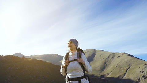 Hiker woman walking mountains Animation
