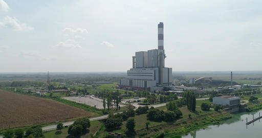 Thermal power plant camera flies over the river GIF