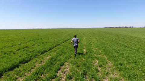 A man running through the field. Jogging in the fresh air Live Action