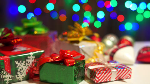 Christmas Gifts and Lights Stock Video Footage