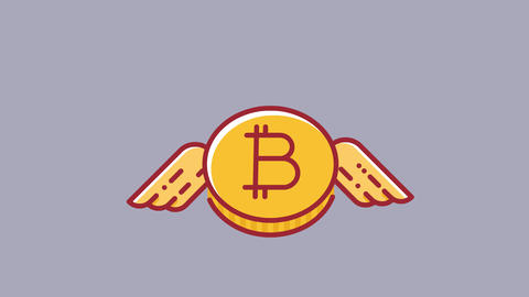 Animation of flying bitcoin cryptocurrency. Flat design... Stock Video Footage