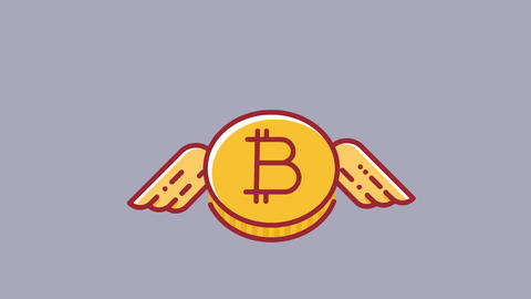 Animation of flying bitcoin cryptocurrency. Flat design style HD animation with CG動画素材