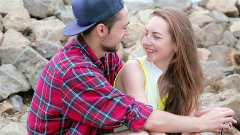 Cheerful couple in love. Tenderness touch foreheads Live Action