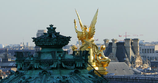 Time Lapse Of Golden Statue On The Roof Of The Opera Garnier In Paris Footage
