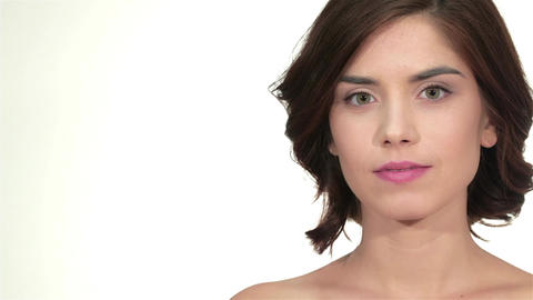 Beauty woman portrait looking at copy space Footage