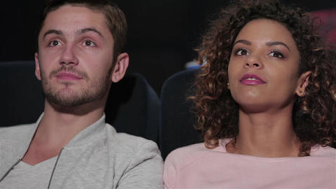 Attractive people at the cinema Footage