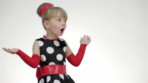 Kid Girl Surprised Looking At Copy Space Live Action