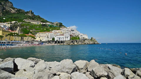 Panoramic view of Marina Grande in world famous Amalfi Live Action