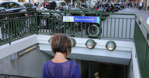 People Entering Into The Metro Of Havre - Caumartin In Paris Footage