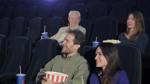 People watch comedy at the movie theater Footage