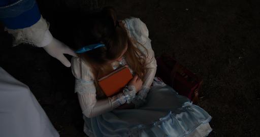 4k - Alice in wonderland - rabbit on the stilts run and… Stock Video Footage