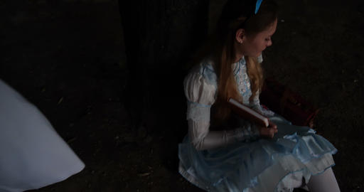 4k - Alice in wonderland - rabbit on the stilts run and... Stock Video Footage