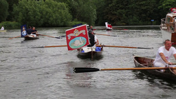 Rowing skiffs during Swan Upping 2015 on River Thames UK Footage