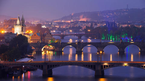 The Famous Bridges of Prague in the Evening. Time Lapse 4K Footage