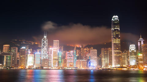 Evening at the Hong Kong and the Light Show. Time Lapse 4K Footage