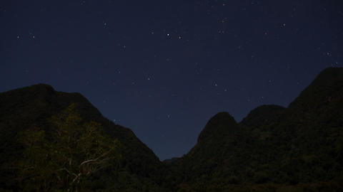 Starry Night Time Lapse over mountain range Footage
