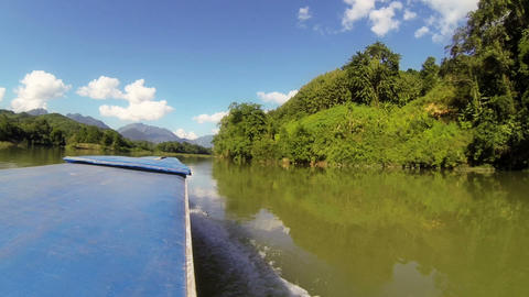 Nam Ou river cruise , view from the roof of slow boat Footage