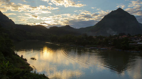 Nong Khiaw river sunset timelapse Footage