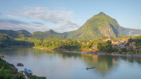 Nong Khiaw river sunrise timelapse Footage