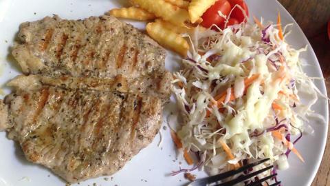 Grilled steak and vegetable salad Footage