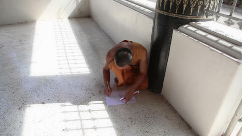 Monk Drawing The Picture In The Monastery stock footage