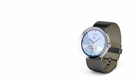 Round smart watch Stock Video Footage