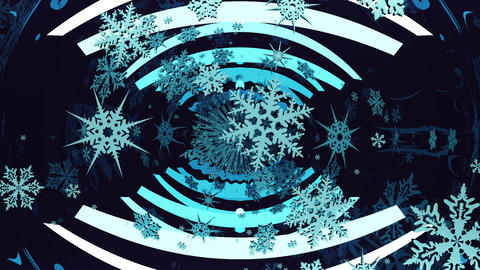 Mirror abstraction with spinning snowflakes Animation