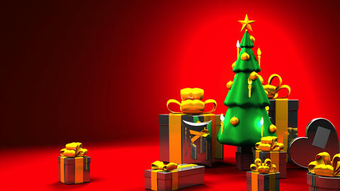 Christmas tree and gift boxes 애니메이션