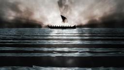 Ancient Greek Ship in Mist Loop Footage