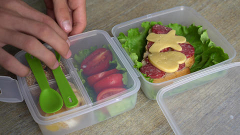 Bento Box Lunch For Back To School And Work Lunches Footage