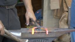 A blacksmith's workshop. Blacksmith forge horseshoe Footage