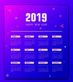 Calendar design for 2019 vector template Vector