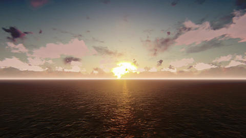 Helicopter flying over the pacific ocean on a sunrise Animation