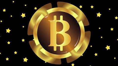 Gold bitcoin and stars 애니메이션