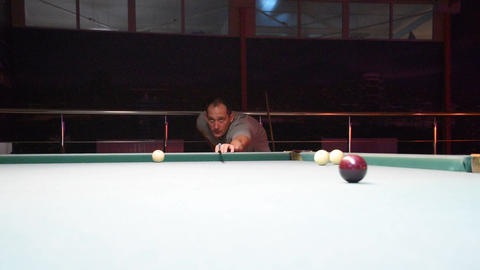 Billiards, billiard table. Balls on the billiard table Stock Video Footage