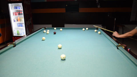 Billiards, billiard table. Balls on the billiard table, Live Action